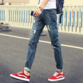 Men's jeans men's 2017 spring and autumn Korean version of a small straight waist Slim stretch jeans seven colors