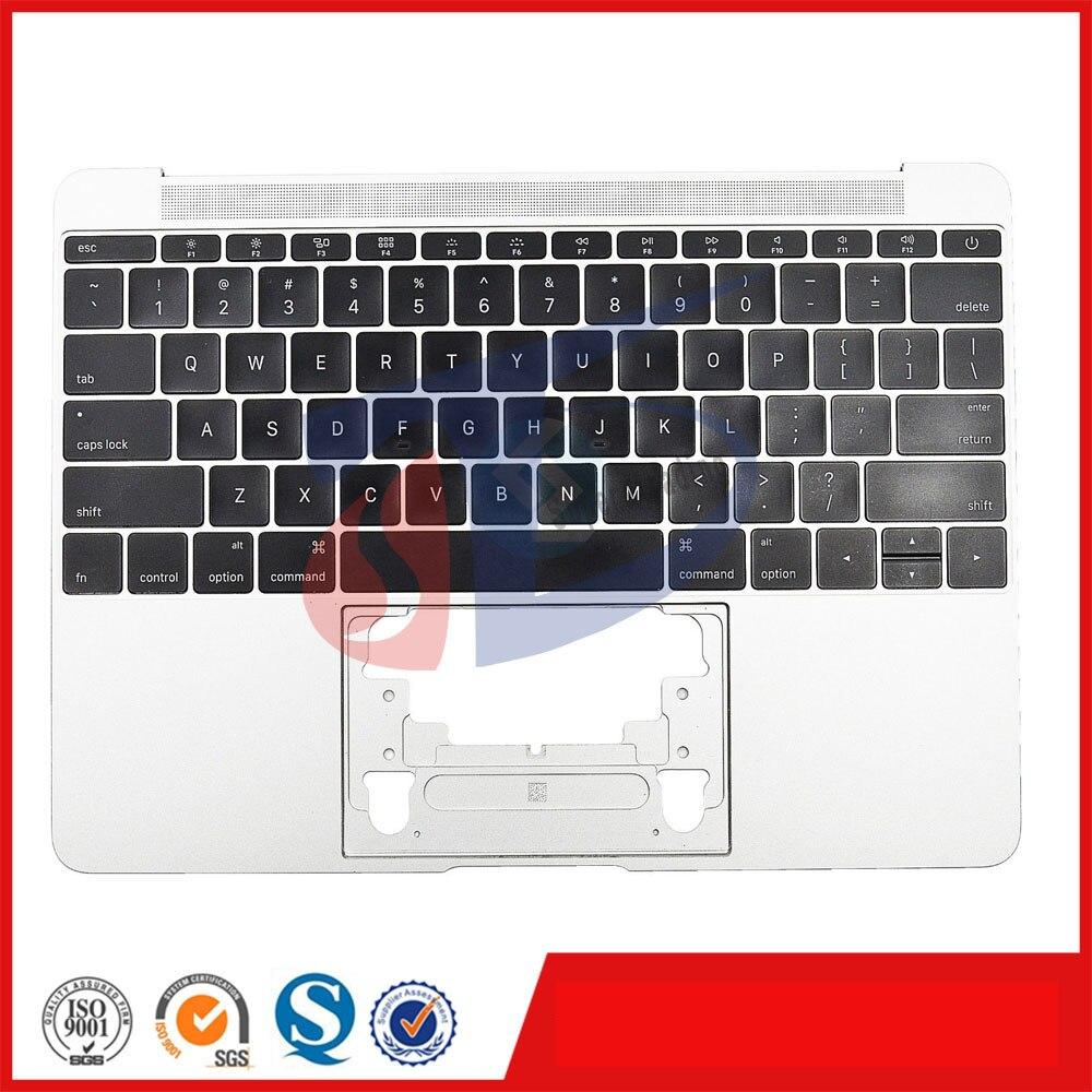 2016 год серебряный оригинальный для Macbook Retina 12 A1534 США клавиатура Topcase верхняя крышка макет