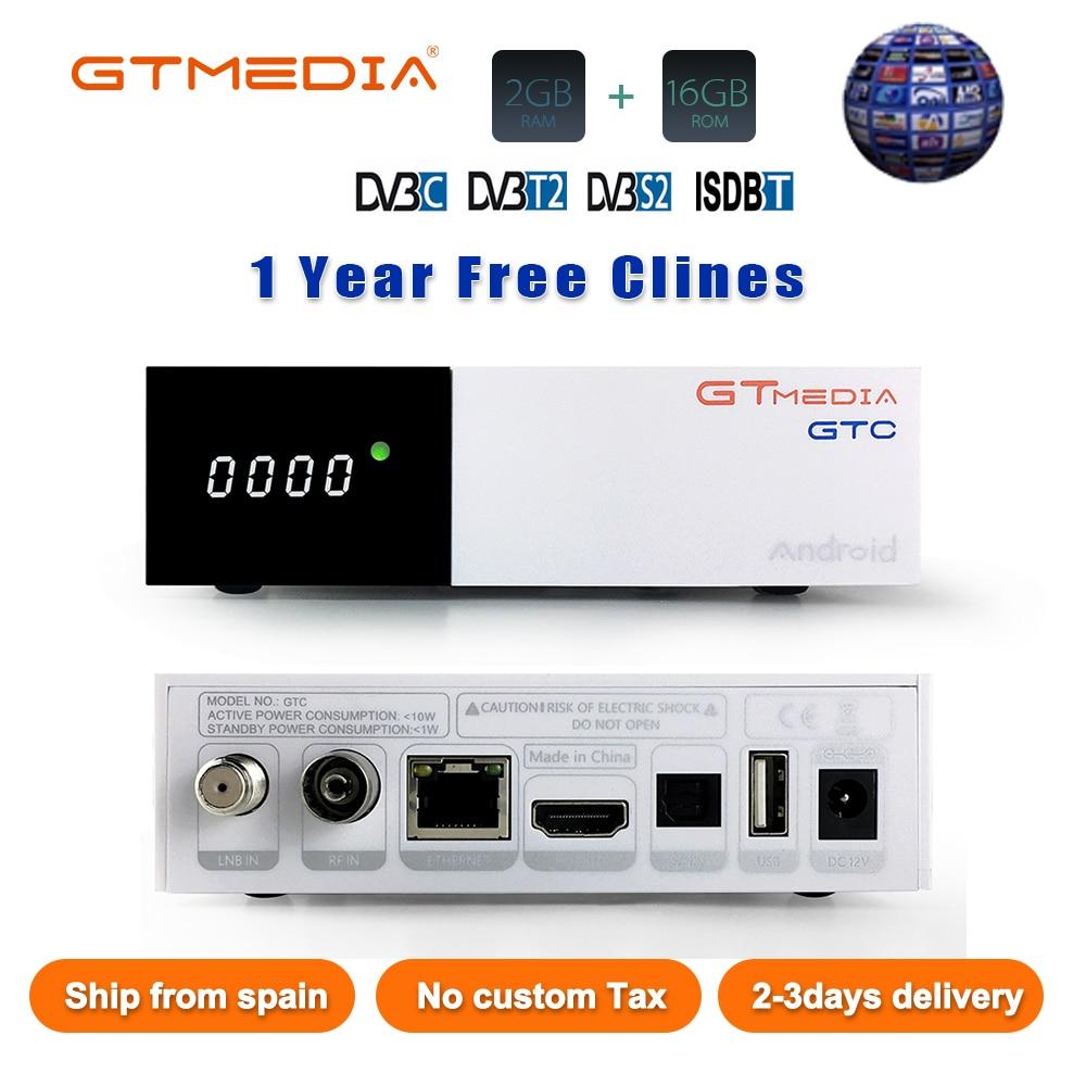 GTmedia GTC Receptor Android 6.0 TV BOX DVB-S2 DVB-C DVB-T2 Amlogic S905D M3U 2/16GB +1 Year Cccam Satellite TV Receiver TV Box