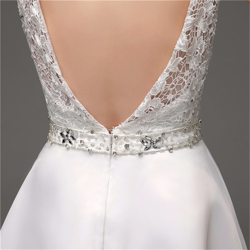 A-line Organza Lace Chapel Train Straps Beaded Deep V Back Wedding Gown