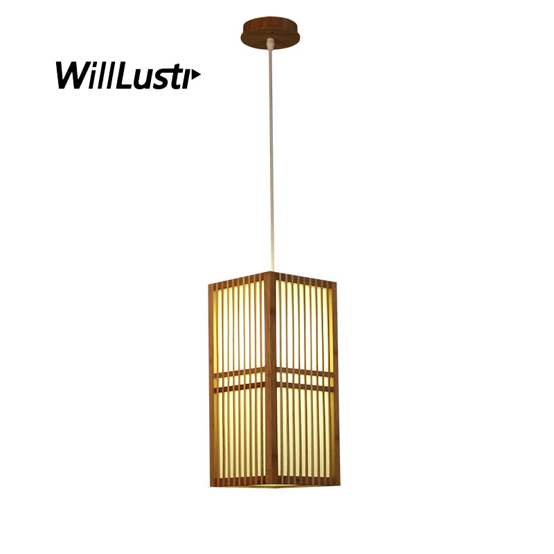 Japan Style Bamboo Pendant Lamp Handmade Wood Lantern Restaurant Bar Cafe Bistro Hotel Teahouse Bedroom Suspension Hanging Light