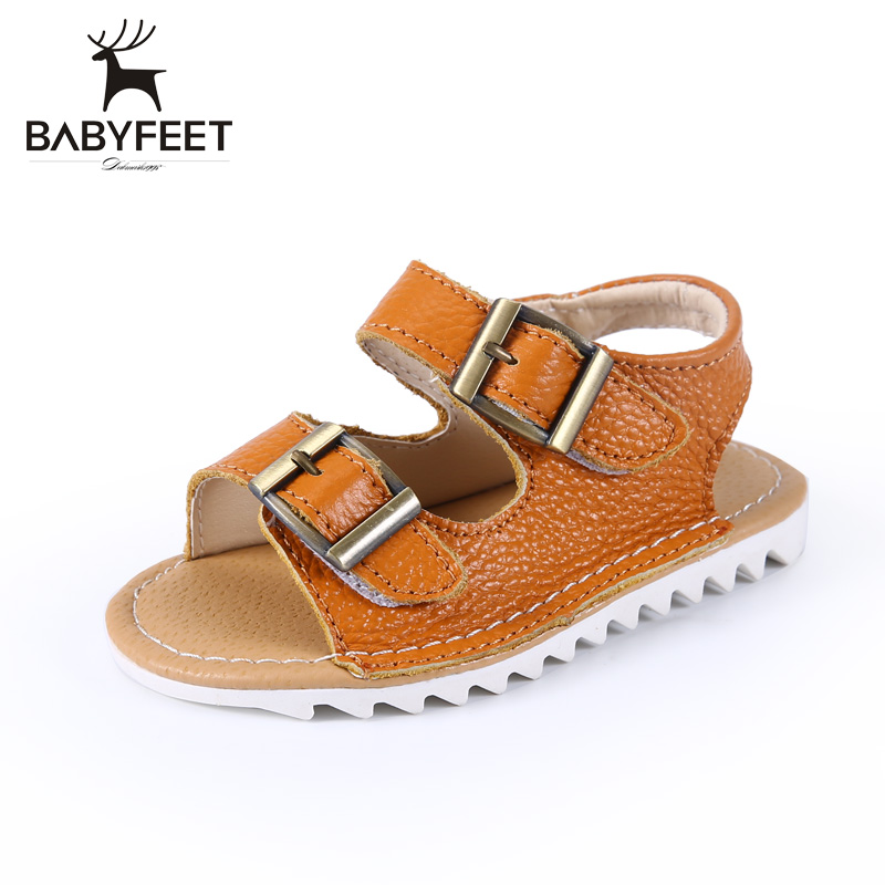 Babyfeet 1-3 years old Children Sandals low shoes for toddler Boy infantil Summer slip boy sandals kids Genuine Leather Buckle babyfeet summer cool toddler shoes 0 2 year old newborn baby girl