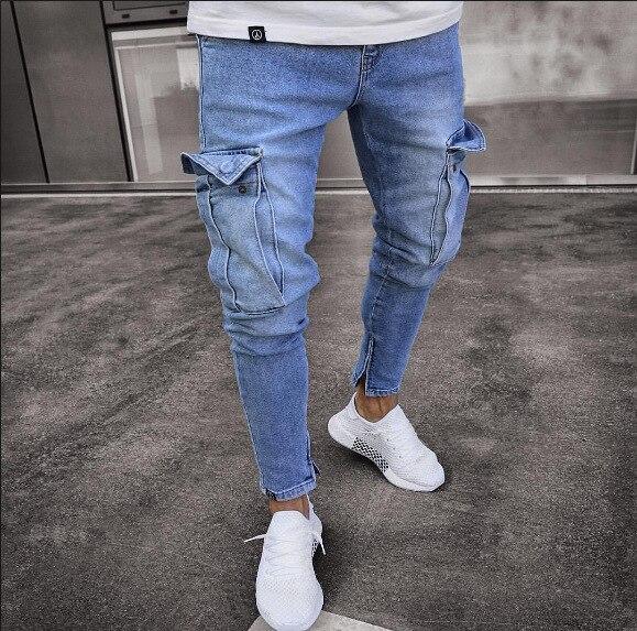 Мужские джинсовые брюки карго, джинсы с боковыми карманами Карго, обтягивающие джинсы, мужские облегающие длинные брюки - Цвет: 2