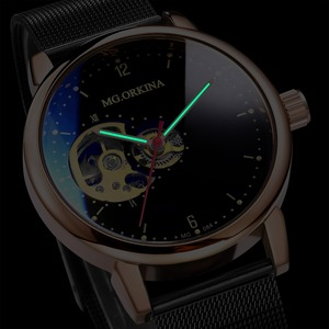 Image 2 - Reloj Hombre Orologi Automatici Mens di Sport di Modo di Maglia di Acciaio Inossidabile Della Fascia di Scheletro Meccanico Orologi da Polso Orologio da Polso per Gli Uomini
