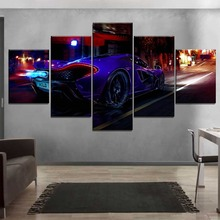 Modular Poster Canvas HD Print 5 Piece On the Street At Night McLaren P1 Sport Car Back View Pictures Living Room Wall Art Decor