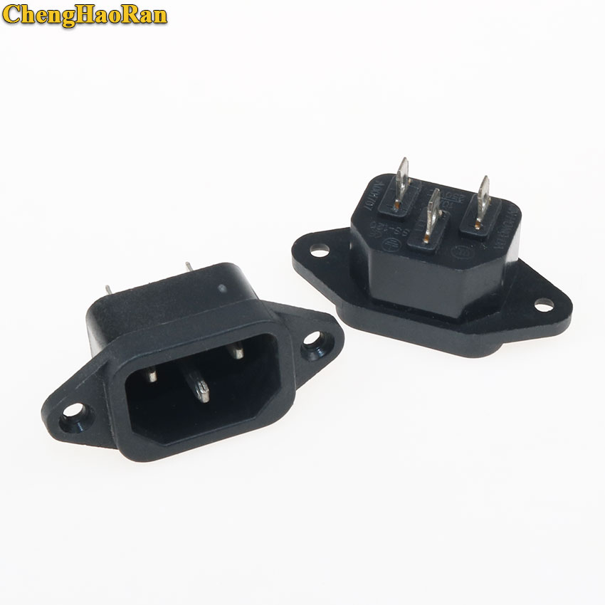 ChengHaoRan 1-5 PCS Power Connector 3P IEC 320 C14 Male Plug Panel Mounted Power Inlet Sockets Connectors AC 250V 10A