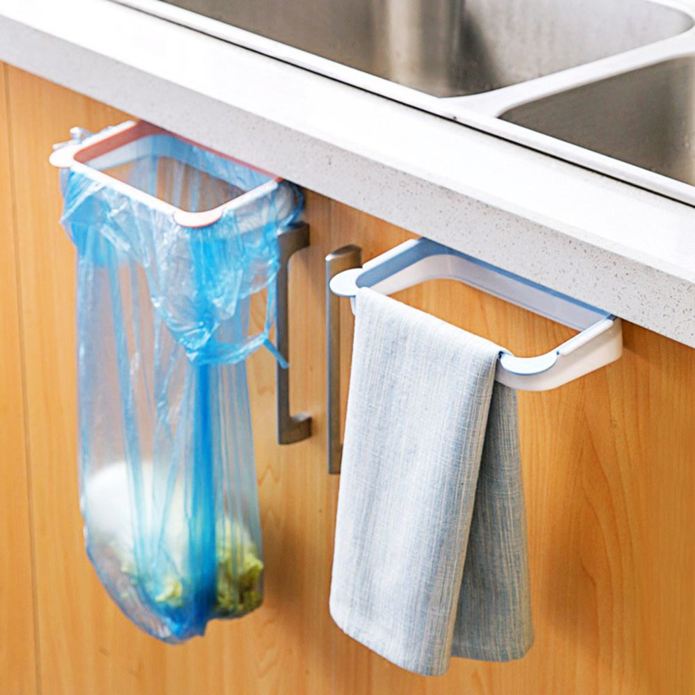 soporte para bolsas de basura colgando armario de cocina bastidores titulares cocina hanger organizador del armario