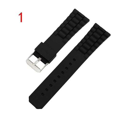 20mm 22mm 23mm 24mm 26mm Silicone Rubber Watch Band Universal Watchband Resin Strap Wrist Loop Belt Bracelet Black + Pin + Tool | Watchbands