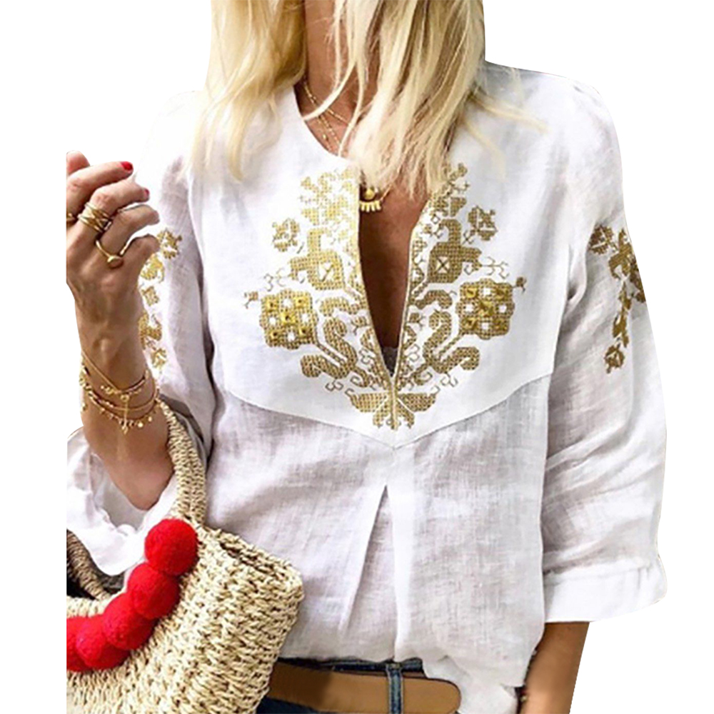 Women's Clothing Lasperal 2019 Spring Women Vintage Floral Blouse Sexy Deep V Neck 3/4 Sleeve Shirt Casual Blusas Office Lady Work Blusa Femme Latest Technology