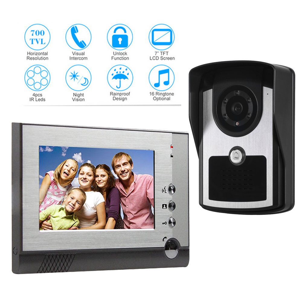 wired video doorbell Intercom bells System 4-core cable connection 7 TFT LCD Monitor IR Outdoor Camera doorphone HD camera