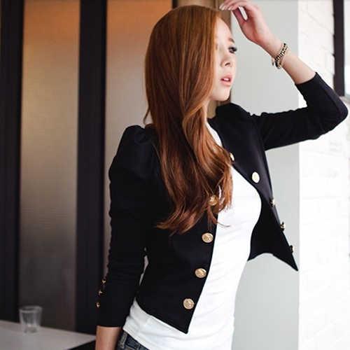 新しい到着の女性のファッションセクシーなダブルブレストロングスリーブショートスーツのジャケットコート生き抜く