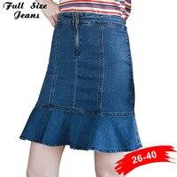 Plus Size Ruffles Flare Mini Pencil Denim Skirts 4Xl 5Xl Sexy Lady Stretch Skinny High Waist