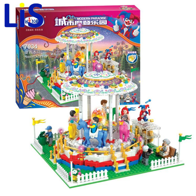 (Lis)City Sreet Carousel Winner 7034 Model Building Blocks Toy Bricks Compatible with Kids Toys Gifts lepin 15013 city sreet carousel model building kits blocks toy compatible 10196 with funny children educational lovely gift toys
