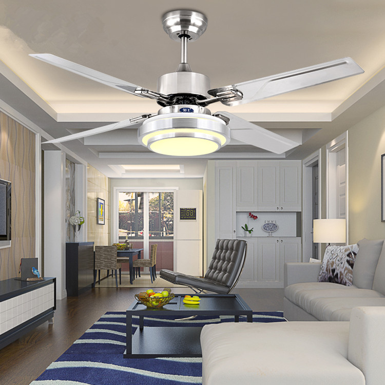 LED Ceiling Fan Modern 42 Inch Dining Room Chandelier European Antique Living