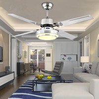 LED ceiling fan modern 42 inch fan dining room LED chandelier European antique living room fan with LED Lighting