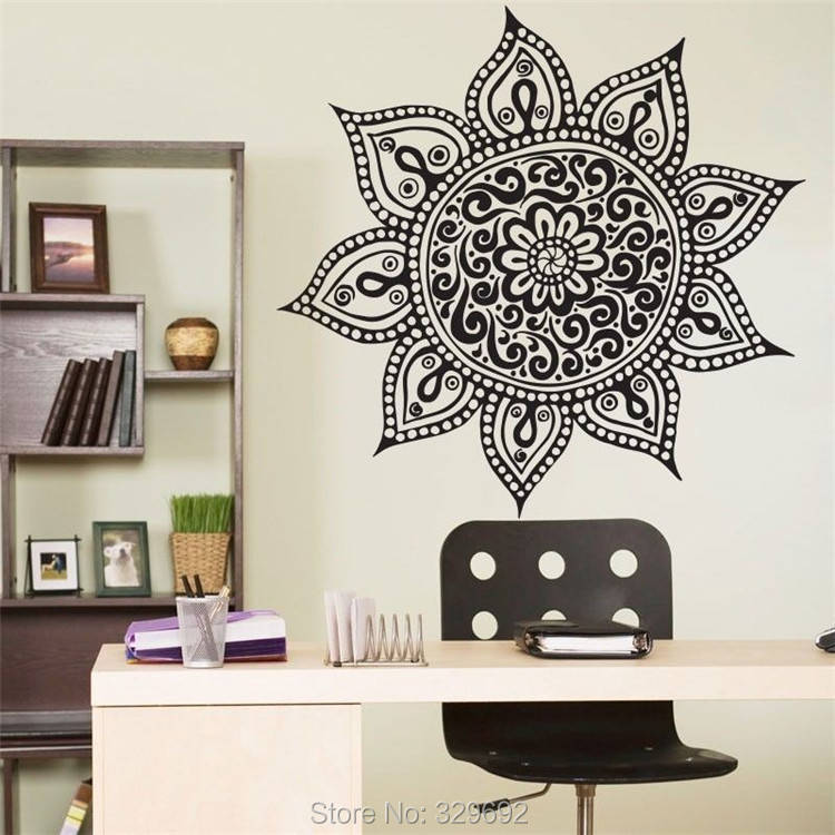 Yoga Mandala Om Indian Buddha Symbol Mehndi Vinyl Wall Decal Home Decor Wall Sticker
