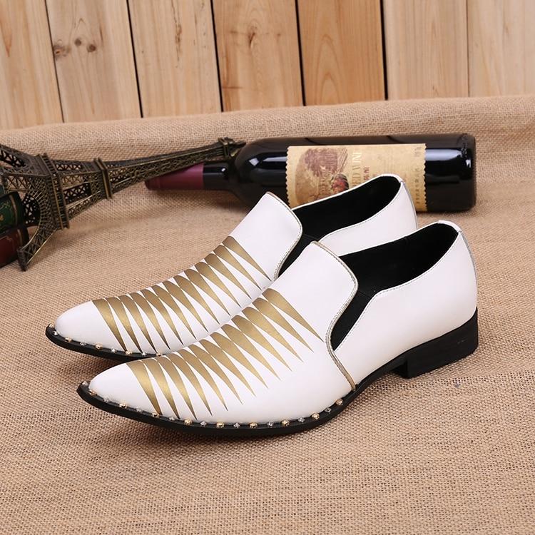 Ayakk.'ten Resmi Ayakkabılar'de Beyaz Damat Düğün Ayakkabı Mens kayma Elbise parti ayakkabıları Flats Hakiki deri Oxfords Artı Boyutu 38 46 Sapatos Hombre'da  Grup 1