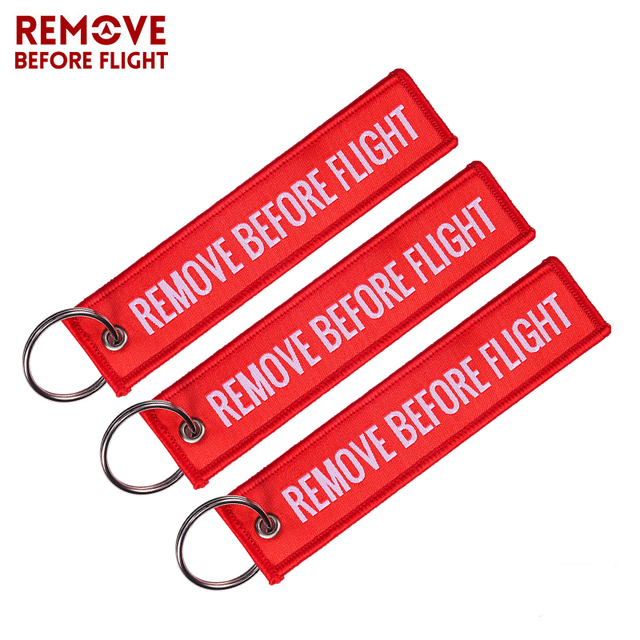 Remove Before Flight Key Chain Red Keychain Woven Letter Keyring Jewelry Aviation Tags OEM Key Chains Safety Tag 3 PCS/LOT
