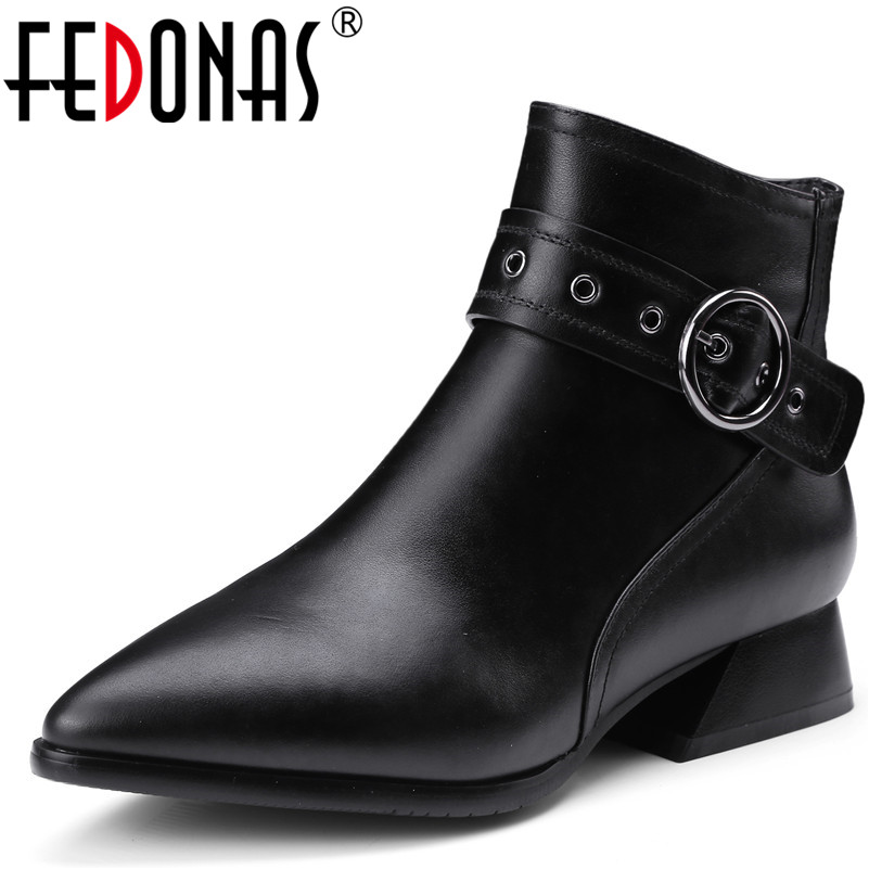 FEDONAS Fashion Brand Low Heeled Ankle Boots Sexy Pointed Toe Autumn Winter Motorcycle Shoes Ladies Genuine Leather Shoes Woman pointed toe lace up women ankle boots fashion ladies autumn winter flat heels cuasual boots shoes woman motorcycle short booties