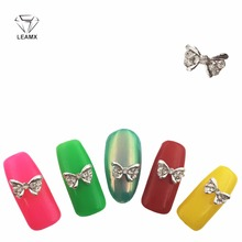 LEAMX 10Pcs/Lot 3D Nail Jewelry Accessories Shiny Silver Butterfly DIY 3D Alloy Nail Art Charm With 2018 New Rhinstones mix design 100pcs new 3d silver red alloy rhinestone bow tie nail art decoration diy charm nail jewelry accessories ml153 ml170