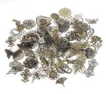 Free shipping! 30Pcs Antique Bronze Mixed Shape Metal Filigree Wraps Connectors Metal Crafts Gift Decoration DIY 30pcs vintage bronze metal small wings