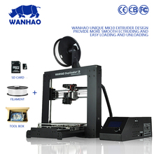 WANHAO brand 3d printer Model I3 V2.1 fully arylic assembled with 2GB SD card and PLA testing filament for free in cheap price