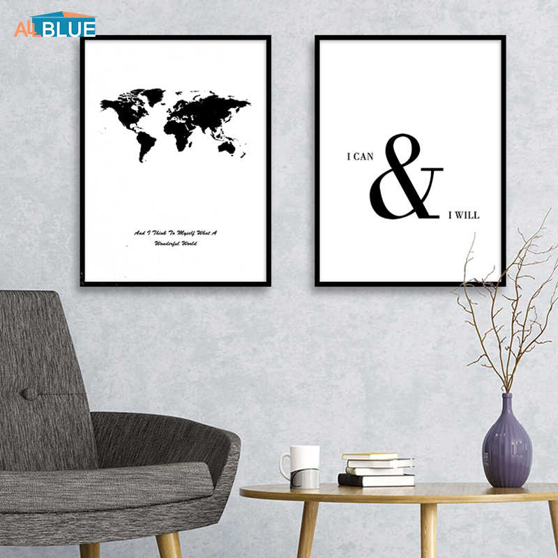Scandinavian Decor Poster Print Black And White World Map Poster Canvas Painting Wall Art Pictures Living Room Decoration Quote