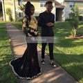 Preto elegante Vestido de Baile Africano 2017 Frente Aberta de Manga Longa Ouro alta Neck Ver Através Sheer Lace Longo Sereia vestido de Baile vestidos