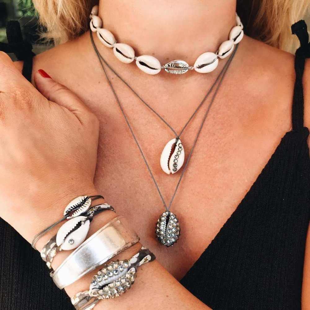 Artilady concha de praia pingente colar coleção contas de declaração colar para o verão feminino jóias festa presente transporte da gota