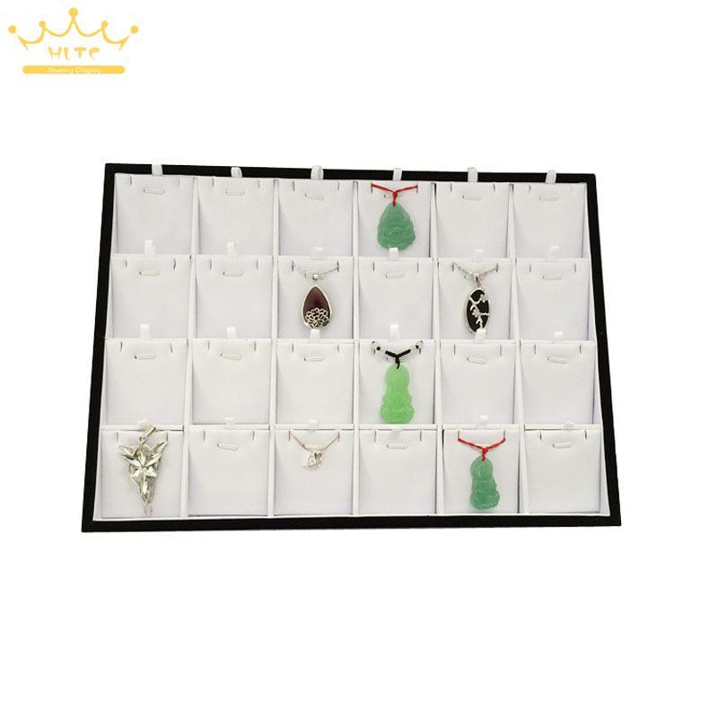Livraison gratuite blanc couleur bois pendentifs boîte bijoux collier affichage vitrine organisateur plateau boîte 24 présentoirs bijoux boîte