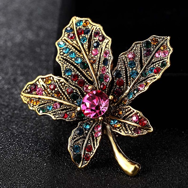 Blucome Small Leafs Brooch For Women Party Gifts Shiny Vintage Corsage Pins  Fashion Wedding Hijab Accessories 321dd7ac365b
