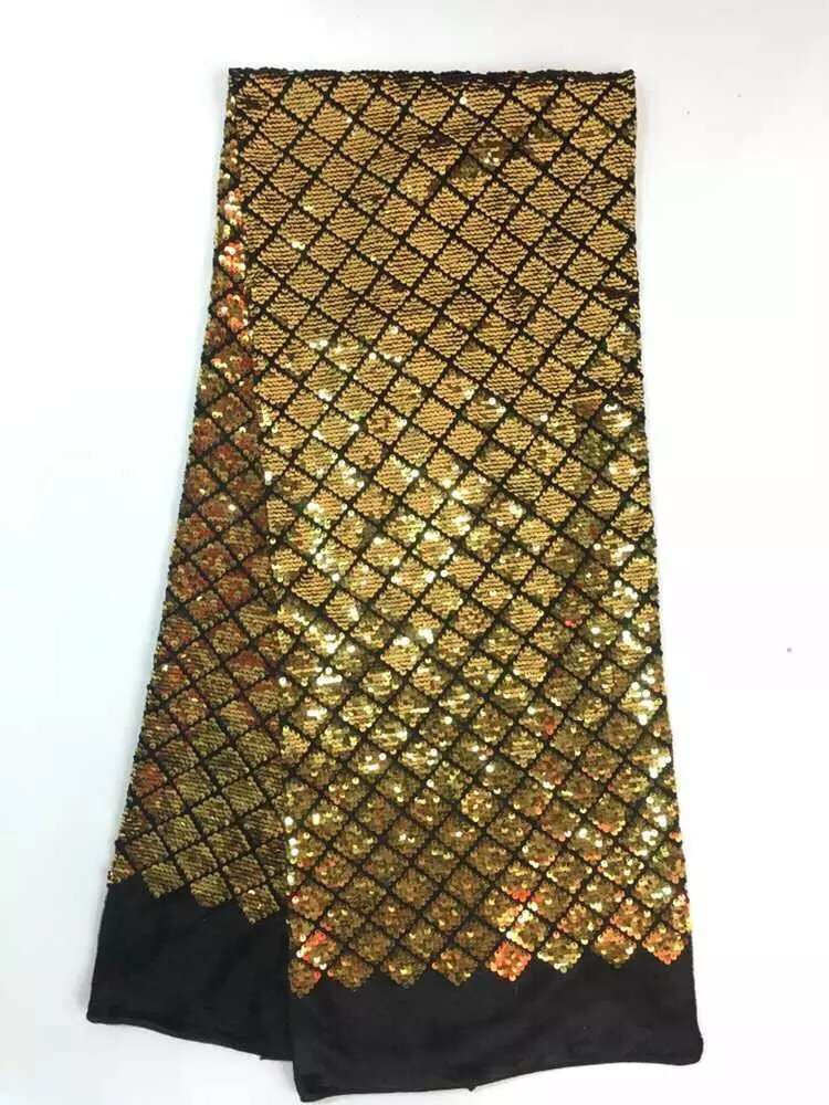 Unique shining GOLD nigerian lace fabric 2018 high quality lace sequins lace fabrics sequins fabric for party dress CX in Fabric from Home Garden