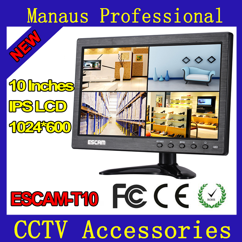 10 inch TFT LCD CCTV Monitor with VGA HDMI AV BNC USB for PC CCTV Security Support Image Fluctuation Reversal Control ESCAM T10 escam 10 inch tft hd lcd monitor for security surveillance camera cctv monitor pc monitor pal ntsc system support audio input
