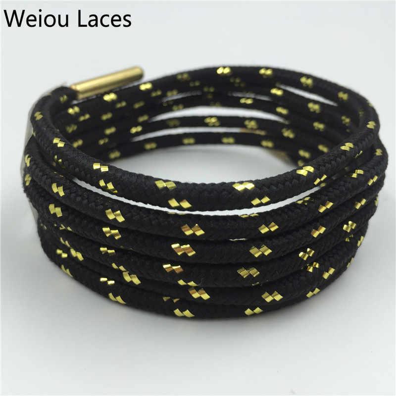 Weiou Spor Çizme Bağcıkları W/Metal Aglets Metalik Parlak Altın Ayakabı Beyaz Siyah Yuvarlak Glitter Bootlaces Eğlenceli Ayakkabı Bağcıkları dizeleri
