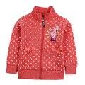 Algodão de moda inverno casacos, polka dot zipper crianças jaquetas para as meninas, roupa do bebê, das Crianças casacos Corta-vento roupas