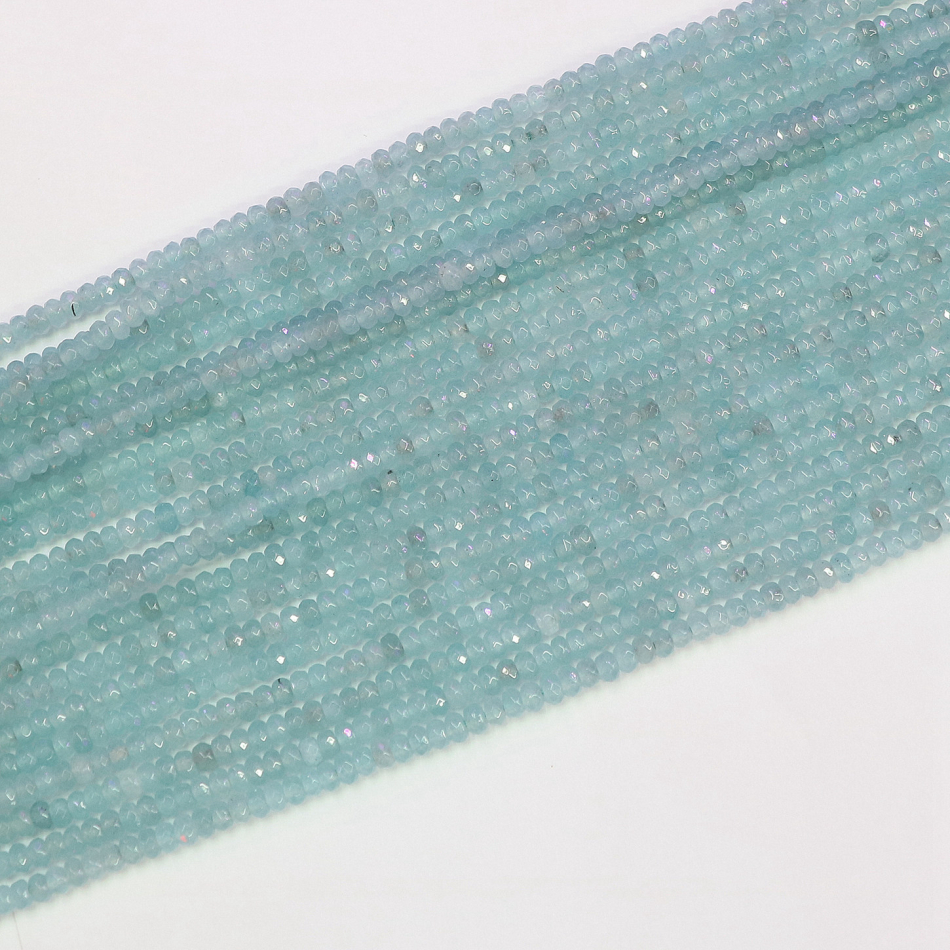 Sky blue <font><b>natural</b></font> <font><b>stone</b></font> chalcedony jades <font><b>2x4mm</b></font> fashion faceted abacus diy jewelry making loose beads 15 inches B584 image