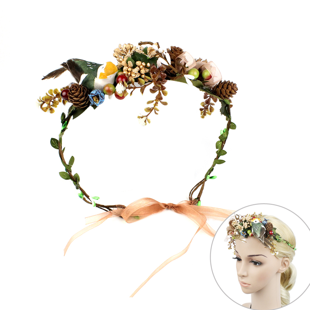 Artificial Flower Hair Bands Bird Plants Simulation Headband Hairstlye Accessory For Cocktail Party Wedding Celebration