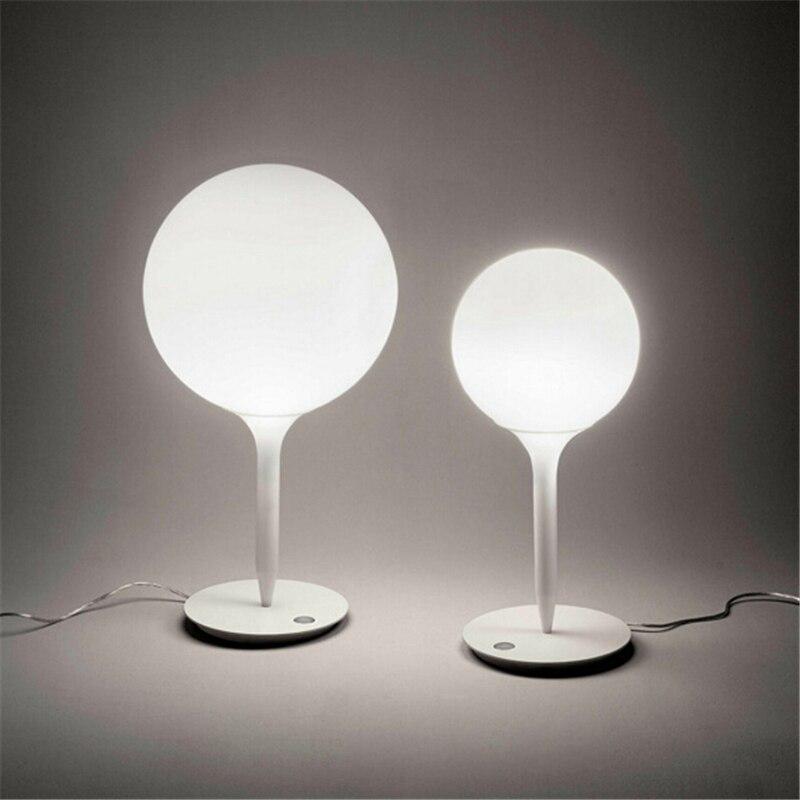 Metal Blanc Boule De Verre Lampe De Table Design Moderne