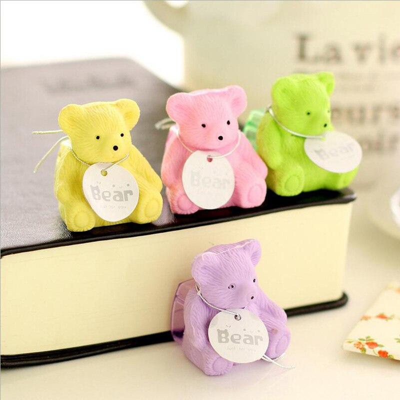 1pcs/lot Cute Bear Eraser+Pencil Sharpener Creative Kawaii Stationery Office School Supplies Papelaria Gift For Kids