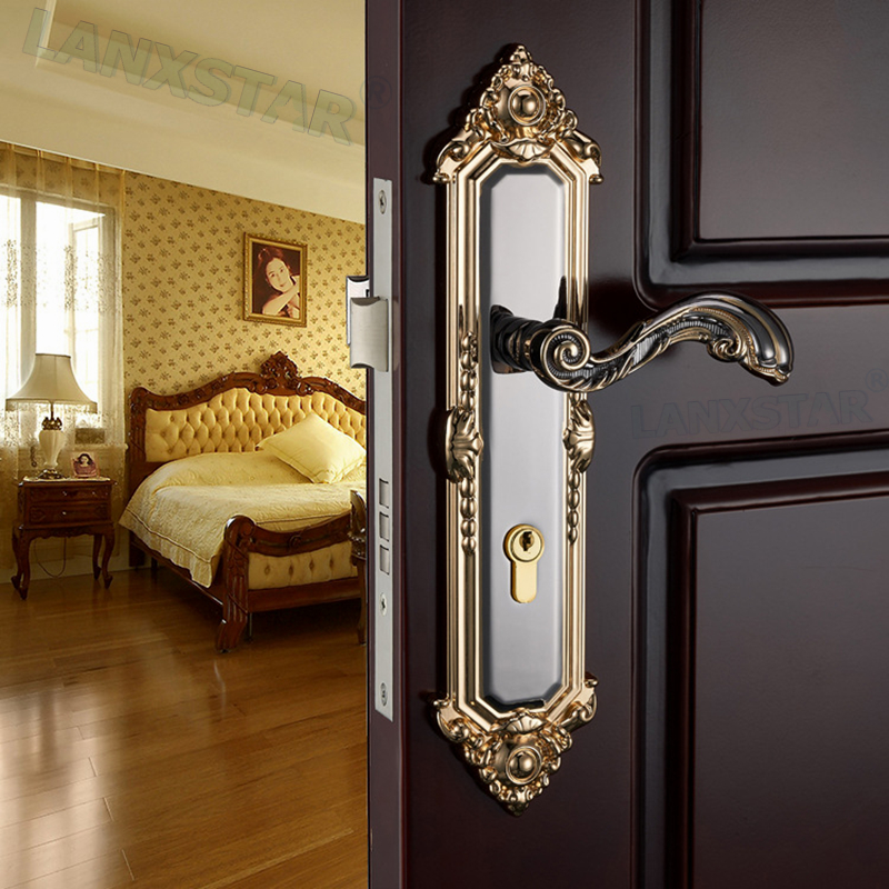 ФОТО Long Term Supply High Quality European Style Zinc Alloy Indoor Handle Lock Mute Lockcore Room Wood Door Locks
