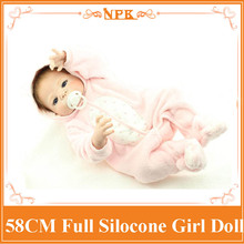 New product 58cm full silicone reborn baby doll toys, play house princess reborn babies kids child brithday girls brinquedos