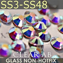 SS3 1.3-1.4mm, Clear Crystal AB 1440pcs/bag Non HotFix FlatBack Rhinestones,glass Glitter glue-on loose DIY nail crystals stones glitter mixed sizes white crystal ab hotfix strass rhinestones round flatback imitation iron on glass crystals and stones diy