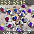 Super Clear AB SS3 SS4 SS5 SS6 SS10 SS20 SS30 SS40 Для Стразы для маникюра блеск кристаллов DIY не камни горячей фиксации декор стразами - фото