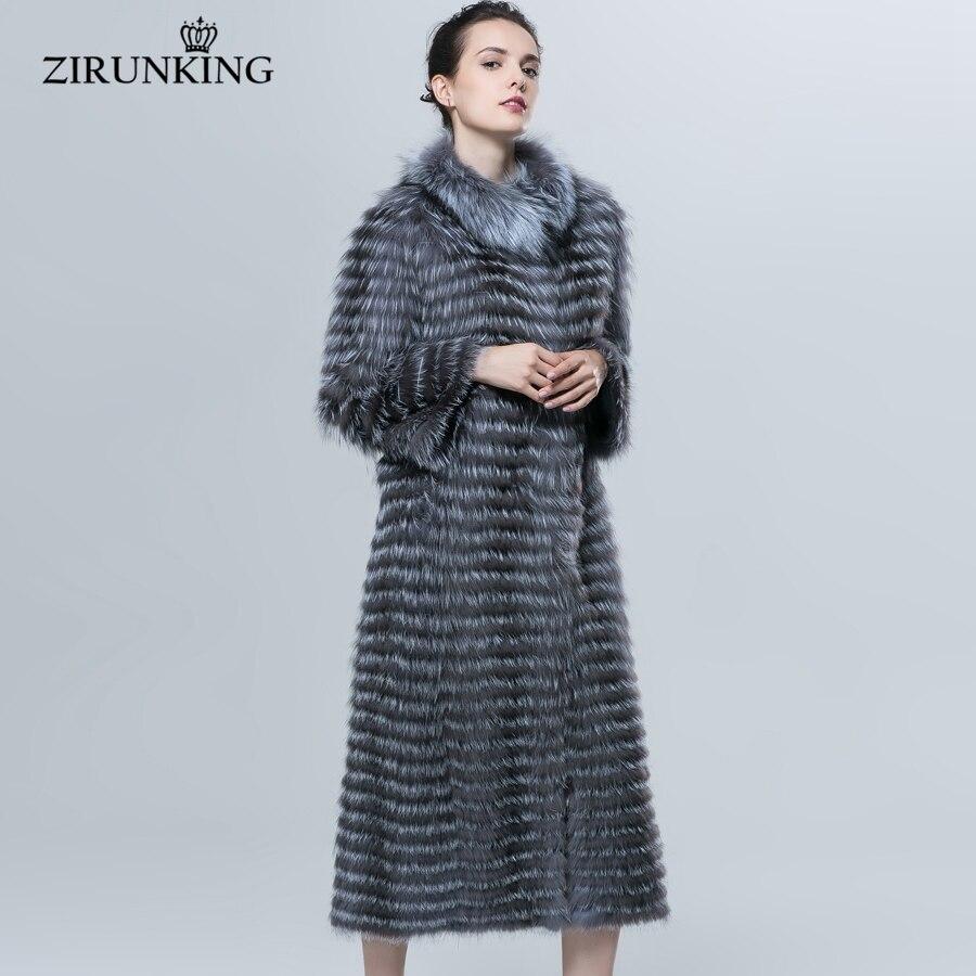 ZIRUNKING automne hiver luxe x-long Style réel argent manteau de fourrure de renard couleur naturelle col de fourrure dépouillé Syle vêtements d'extérieur ZCW-18YL