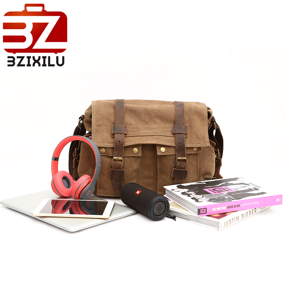 vintage fashion unisex canvas messenger bag book laptop school shoulder bags ladies women crossbody bags handbag men travel bag Vintage Men's Travel Bags Canvas Shoulder Bag Fashion Men Business Messenger Sling Crossbody Bag leather School Handbag