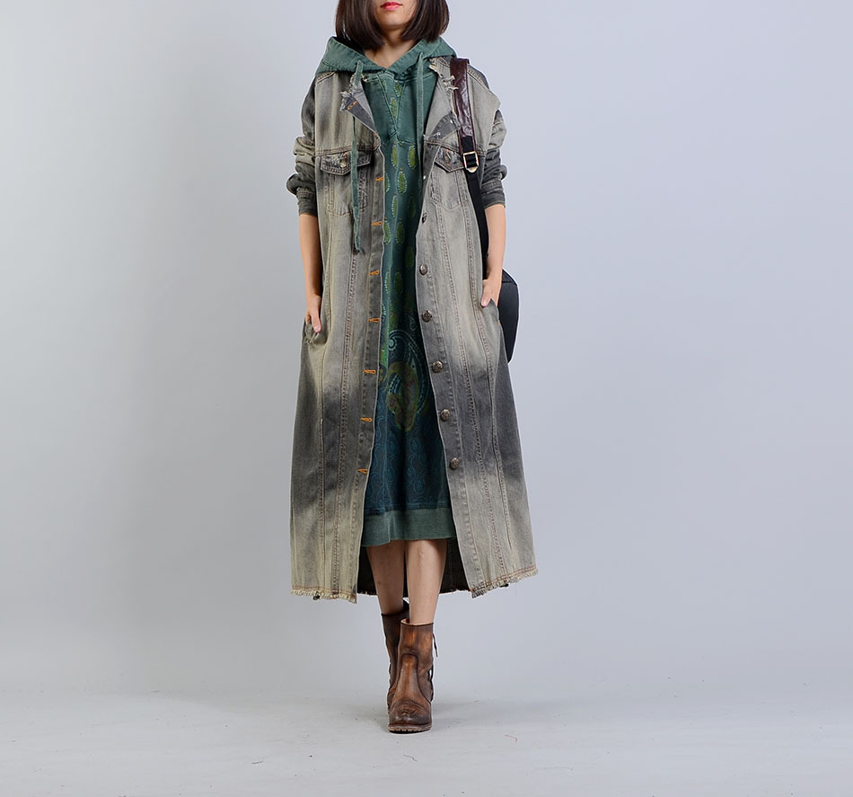 2018 female new autumn and winter plus size berif outerwear personality fashion long fashion denin trench
