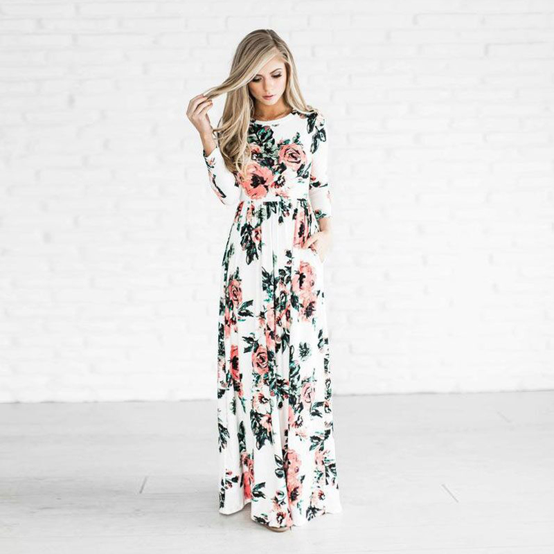 2017 High Quality BOHO Beach Long Dress Women Casual O Neck Full Sleeve Floral Printed Female Dresses Long Maxi Robe Vestidos