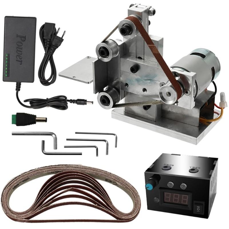 Eu Plug,Multifunctional Grinder Mini Electric Belt Sander Diy Polishing Grinding Machine Cutter Edges Sharpener