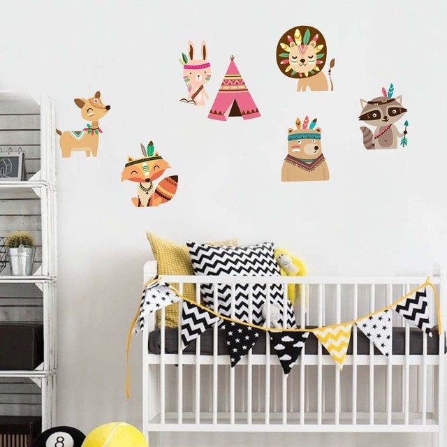 Woodland Fox Wild Animals For Kids Nursery Bedroom Vinyl Wall Sticker Removable Wallpaper Art Decals
