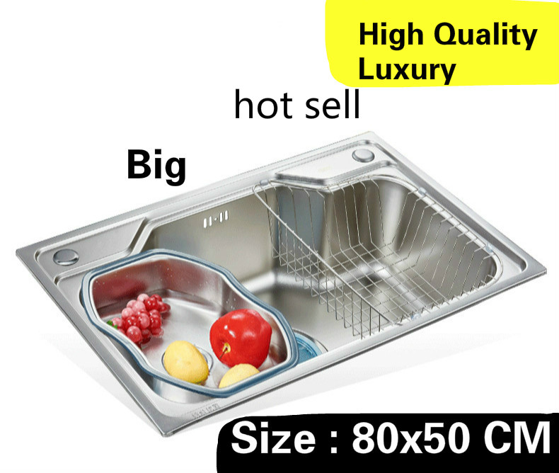 Free shipping Home big kitchen single trough sink high capacity wash vegetables luxury 304 stainless steel 80x50 CMFree shipping Home big kitchen single trough sink high capacity wash vegetables luxury 304 stainless steel 80x50 CM